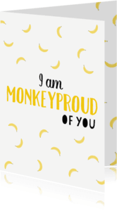 Zomaar kaarten - Monkeyproud of you wit - DH