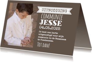 Communiekaarten - Mooie foto typografie-isf