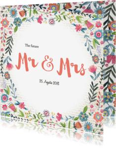 Trouwkaarten - Mr & Mrs Bloemen Boho kaart