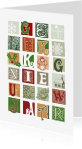 Nieuwjaarskaarten - Nieuwjaar letterblokjes op wit