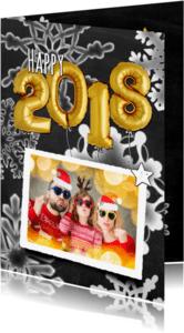Nieuwjaarskaarten - Nieuwjaar trendy 2018 ballon - OT