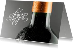Nieuwjaarskaarten - nieuwjaar wijnfles relatie
