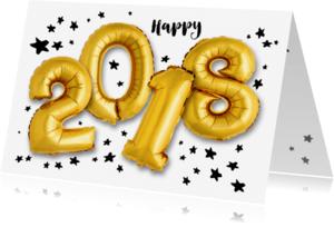 Nieuwjaarskaarten - Nieuwjaarskaart 2018 ballon - OT