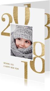 Nieuwjaarskaarten - Nieuwjaarskaart 2018 goud