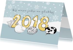 Nieuwjaarskaarten - Nieuwjaarskaart - 2018 met poezen