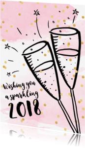Nieuwjaarskaarten - Nieuwjaarskaart champagne aquarel confetti
