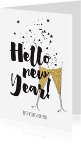 Nieuwjaarskaarten - Nieuwjaarskaart champagne - LO