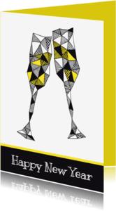 Nieuwjaarskaarten - Nieuwjaarskaart champagne