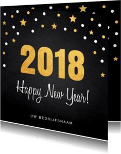 Nieuwjaarskaarten - Nieuwjaarskaart confetti goud 2018 krijtbord