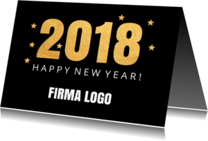 Nieuwjaarskaarten - Nieuwjaarskaart confetti goud - LB