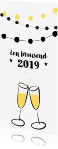Nieuwjaarskaarten - Nieuwjaarskaart feest champagne