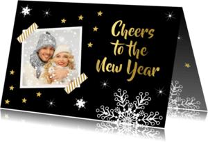 Nieuwjaarskaarten - Nieuwjaarskaart foto zwart goud - LB