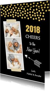 Nieuwjaarskaarten - Nieuwjaarskaart fotocollage confetti goud - LB