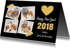 Nieuwjaarskaarten - Nieuwjaarskaart fotocollage hartje goud - LB