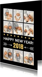 Nieuwjaarskaarten - Nieuwjaarskaart fotocollage zwart - LB