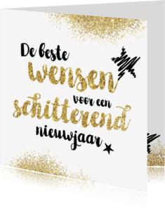 Nieuwjaarskaarten - Nieuwjaarskaart glitter en tekst