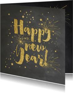 Nieuwjaarskaarten - Nieuwjaarskaart goud krijtbord