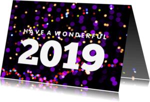 Nieuwjaarskaarten - Nieuwjaarskaart hip met neon lichtjes - LO
