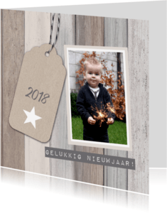 Nieuwjaarskaarten - Nieuwjaarskaart hout foto label