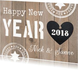 Nieuwjaarskaarten - Nieuwjaarskaart hout hartje - LB