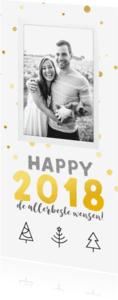 Nieuwjaarskaarten - Nieuwjaarskaart langwerpig - gouden confetti