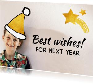 Nieuwjaarskaarten - Nieuwjaarskaart muts goud ster
