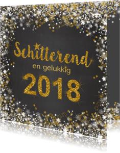 Nieuwjaarskaarten - Nieuwjaarskaart schitterend 2018 grijs en goud