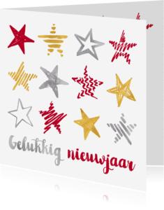 Nieuwjaarskaarten - Nieuwjaarskaart sterren op rij