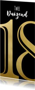 Nieuwjaarskaarten - Nieuwjaarskaart zwart 18 goud