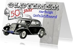 Verjaardagskaarten - oldtimer met auto