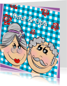 Felicitatiekaarten - Oma en Opa ruitjes blauw