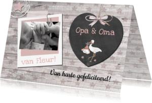 Felicitatiekaarten - opa en oma schoolbordje hart