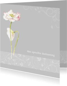 Condoleancekaarten - Oprechte deelneming klaproos