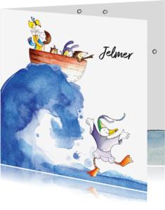 Geboortekaartjes - origineel geboortekaartje zee winter