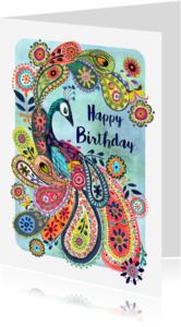 Verjaardagskaarten - Pauw Bloemen Vrolijk Verjaardag