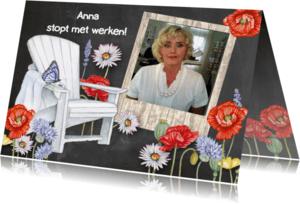 Uitnodigingen - Pensioenfeest krijtbord