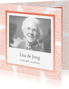 Rouwkaarten - Rouwkaart foto en rozen