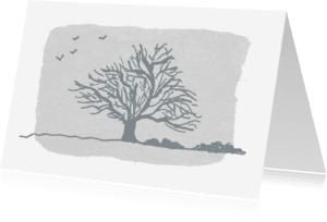 Rouwkaarten - Rouwkaart rouwboom in grijs