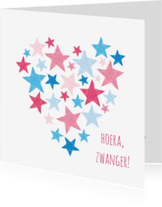 Felicitatiekaarten - Roze en blauwe sterren in hart