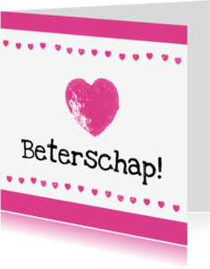 Beterschapskaarten - Roze harten beterschap