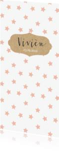 Geboortekaartjes - Roze sterren kraft labeltje
