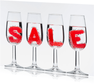 Kaarten mailing - SALE in champagne glazen