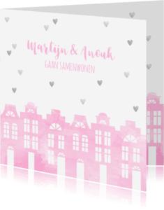 Samenwonen kaarten - Samenwonen kaart huisjes roze aquarel en hartjes