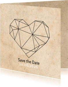Trouwkaarten - Save the date geometrisch hart