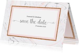 Trouwkaarten - Save the date kaart met marmer
