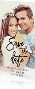 Trouwkaarten - Save the Date modern streep
