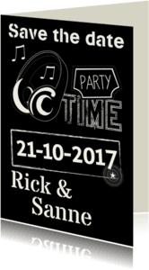 Uitnodigingen - Save the date party time muziek