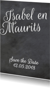 Trouwkaarten - Save the date schoolbord print