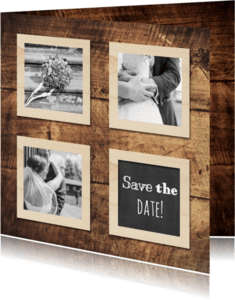 Trouwkaarten - Save the date wood - DH