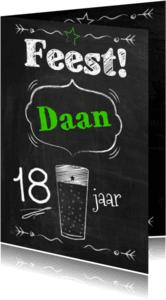 Verjaardagskaarten - Schoolbord feest met bier-ByF